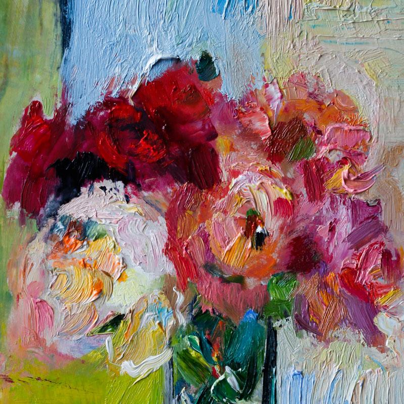 Garden Roses Floral Still Life Oil Painting