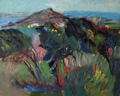 Summer Spanish Landscape with Pine Trees, the Sea and the Island (SOLD)