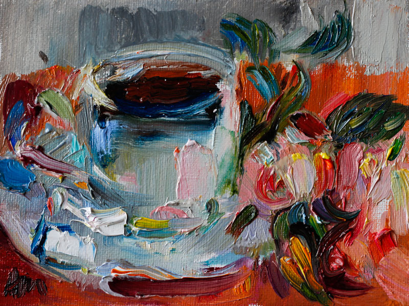 Coffee Roses Lovely Breakfast Oil Painting