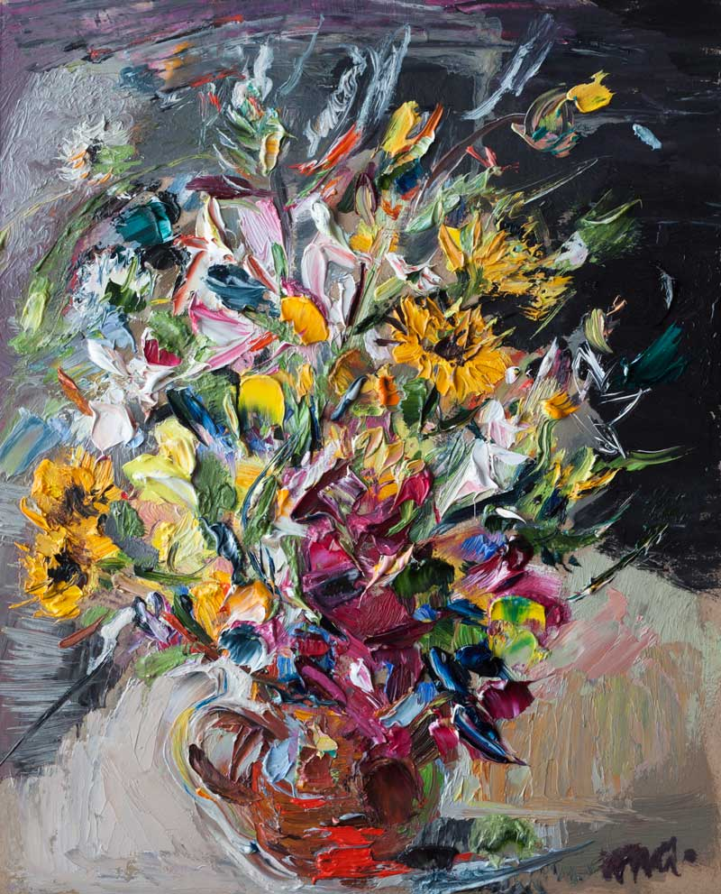 Bouquet Original Palette Knife Oil Painting