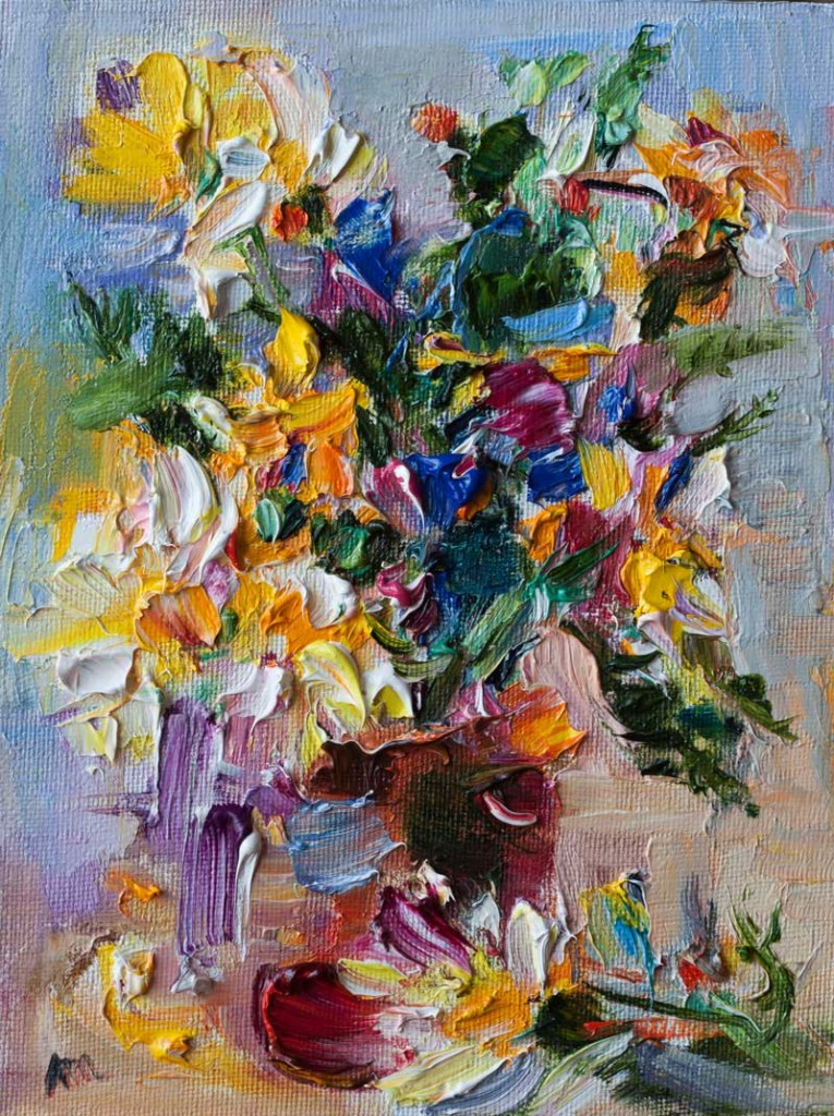 Abstract Bouquet of Blue, Yellow and White Wild Flowers in a Red Vase Painting