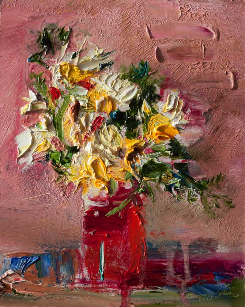 White Flowers in a Red Glass Original Floral Still Life Painting Abstract