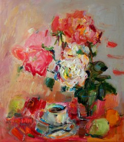 Still Life with a Cup of Coffee, Roses and Fruits
