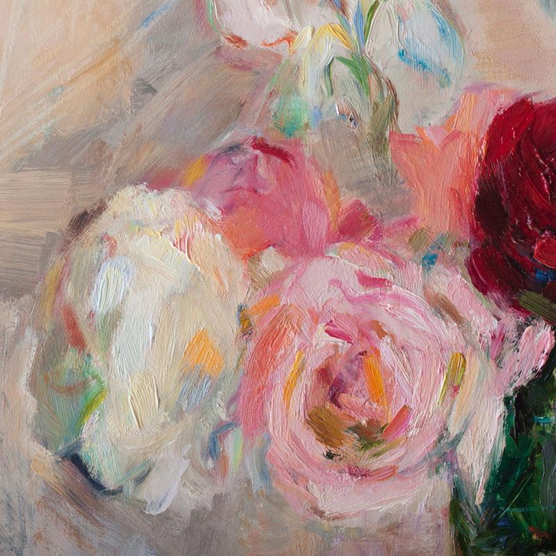 Garden Roses and White Iris Flowers - Original Floral Still Life