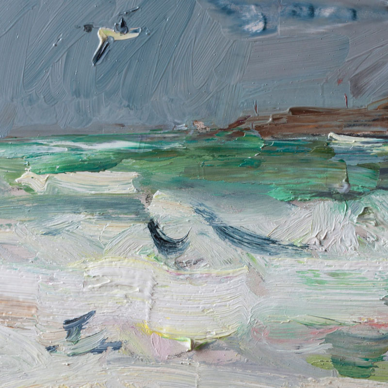 Stormy Sea and Seagul - Original Plein Air Oil Painting