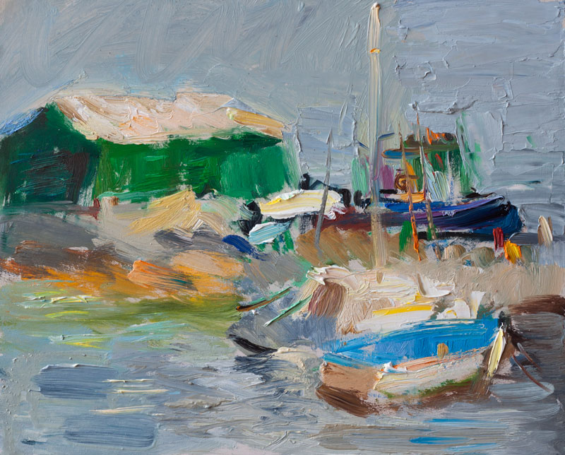 Morning Pier - Original Plein Air Oil Painting, Impressionist Art Seascape