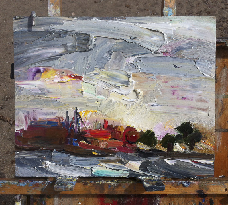 Storm Wind & Rough Sea at Dawn - Original Plein Air Seascape Painting