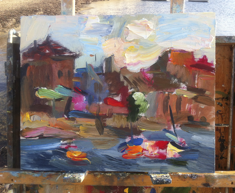 Morning Seafront, White Clouds & Boats, Original Plein Air Painting Oil