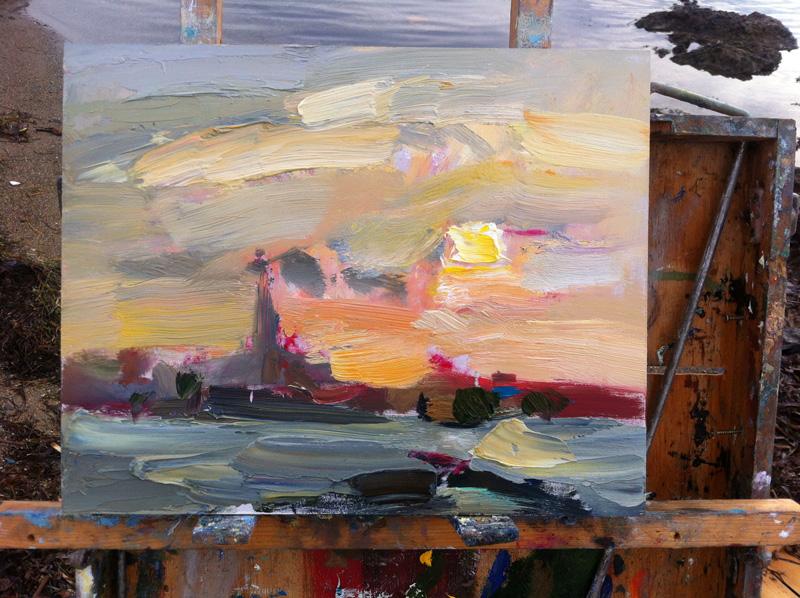 Dreamy Cloudy Sunrise - Original Plein Air Oil Painting