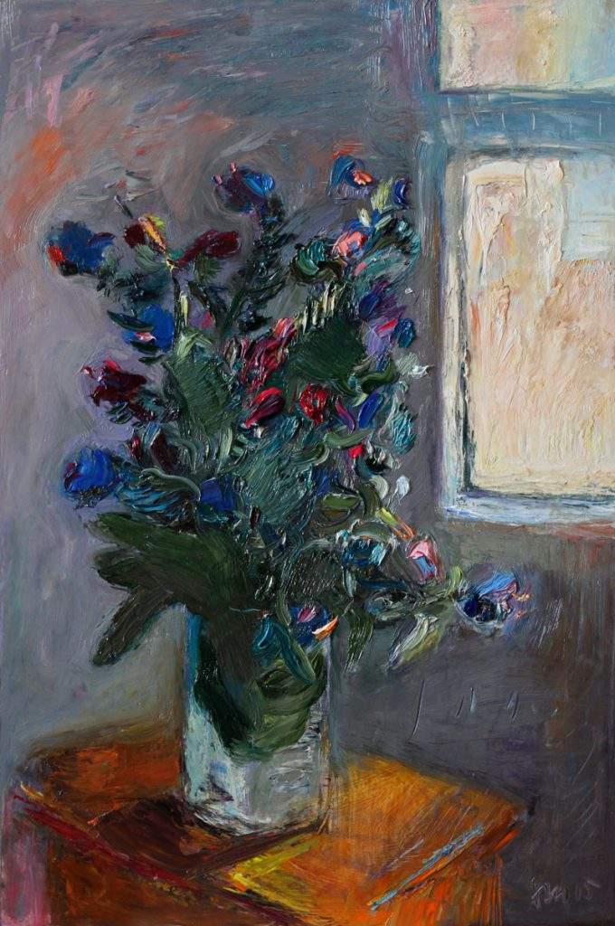 Bouquet of Wild Flowers by the Window - Original Still Life Oil Painting Floral Art