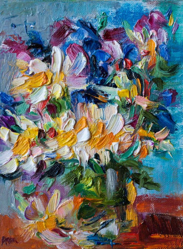 Colorful Spring Wildflowers - Original Abstract Oil Painting on Canvas