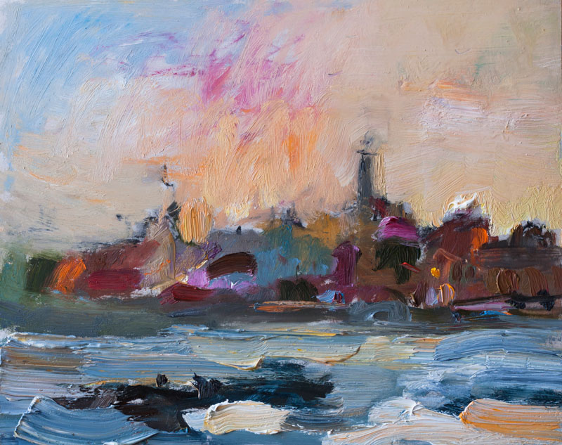 Sunrise over the Mediterranean Sea - Original Plein Air Painting