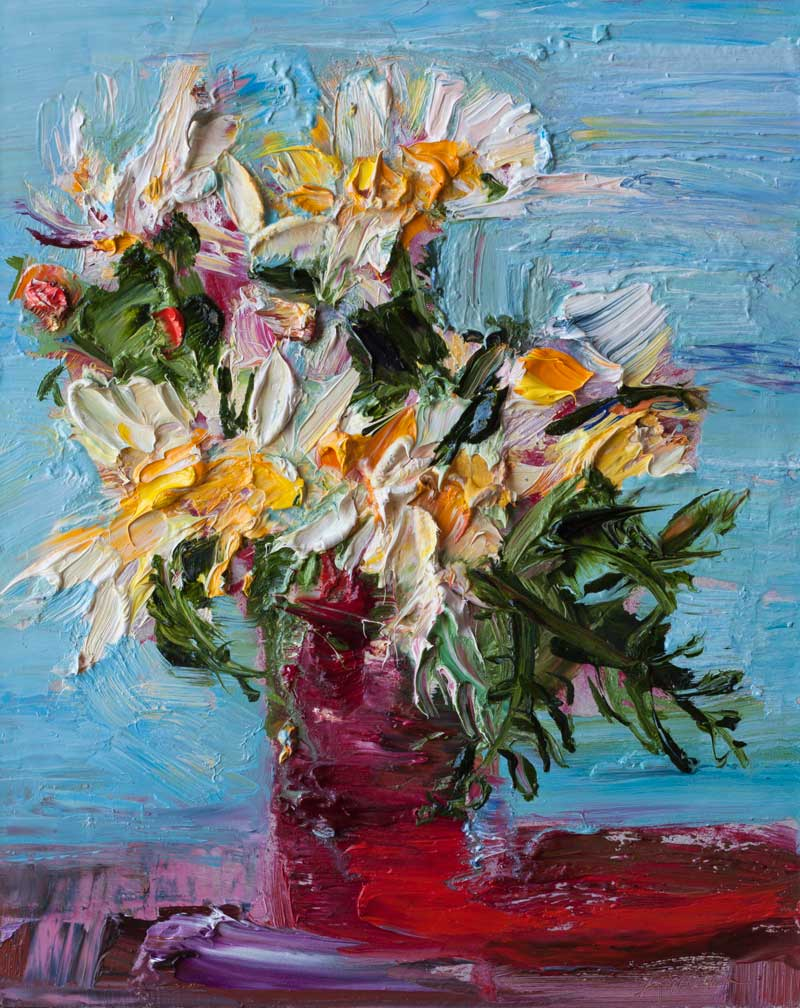 Whild Daisy Flowers in a Red Glass - Original Oil Painting, Floral Abstract Expressionist Art