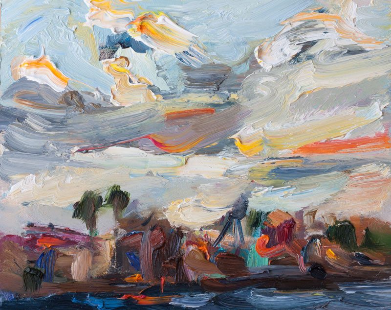 Seascape with Colorful Clouds, Original Plein Air Painting Skyscape Oil Paintings