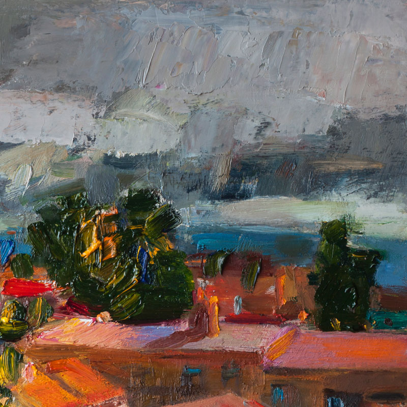 Thunderstorm over the City - Medieval Town Cityscape, Original Abstract Oil Painting