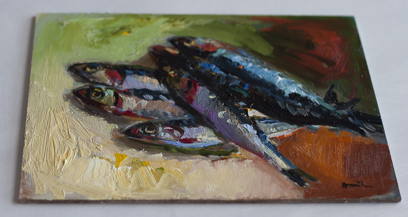 Still Life with Anchovies - Original Still Life Oil Painting - Expressionist