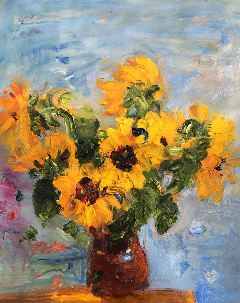 Bouquet of Sunflowers in a Clay Jug - Original Floral Still Life, Oil Painting Flowers