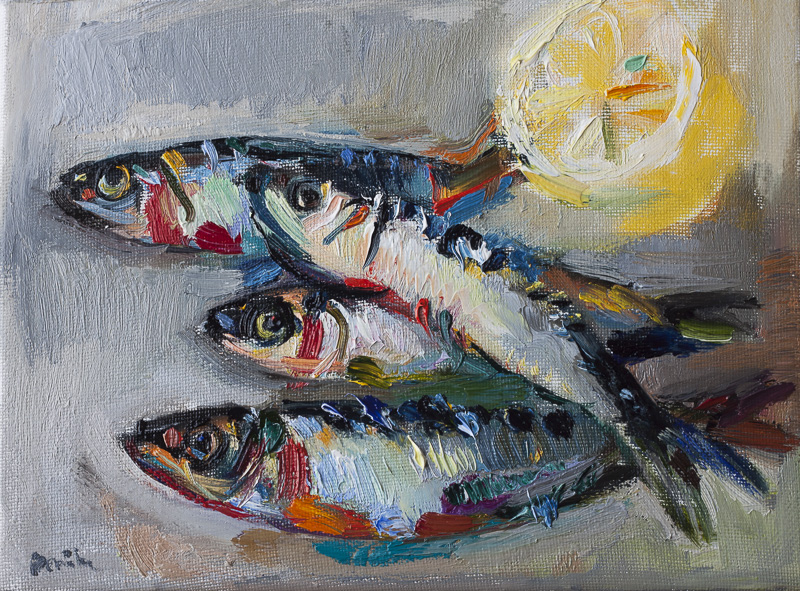 Still Life with Sardines and a Lemon (SOLD)