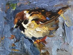 Sparrow Bird on Bright Blue (SOLD)