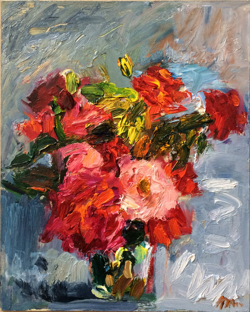Bouquet of Red and Pink Impressionistic Roses (SOLD)