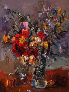 Yellow and Red Bouquet of Wildflowers in a Vase