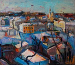 Snow Covered Town Cityscape (SOLD)