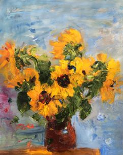 Bouquet of Sunflowers in a Clay Jug (SOLD)